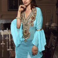 V neck Chiffon Sequins n Stones ladies Top / Tunic / Kurta