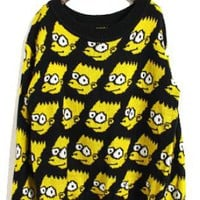 Yellow Simpson Cartoon Pattern Loose Sweater S168