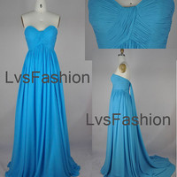 Strapless Sweetheart Long Blue Chiffon Prom Dress (Train Rmovable), Bridesmaid Dress, Evening Dress