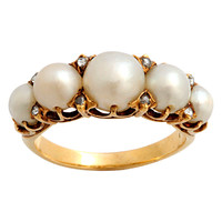 Sensual Antique Natural Pearl and Diamond Ring