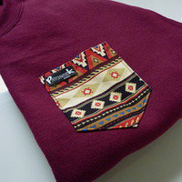 Patchwork Apparel — Red Native Pocket Crew Neck Unisex