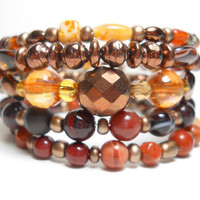 Memory Wire Bracelet Natural Brown Stacking Beaded Wrap Bracelet