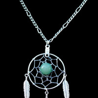ADVENTURINE DREAM CATCHER Necklace in Silver by SerenityJewelry