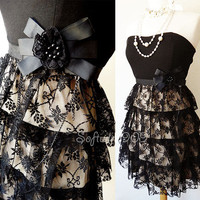 NEW Black/Beige Lace Overlay Ruffle Skirt Victorian Brooch Strapless Party Dress