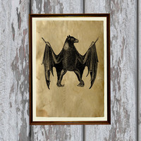 Bat print Old paper Antiqued decoration vintage looking