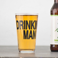 Drinking Man- 2 hand printed pint glasses - dark charcoal