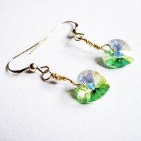 Wrapped wire earrings green Swarovski heart by RobertaValle