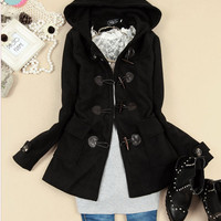 Korean Women Chic Horn Button Hooded Coats