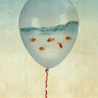 balloon flying fish Art Print | Print Shop