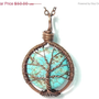 20% OFF Valentines SALE The Round Turquoise Tree of Life Necklace in Antique Copper.