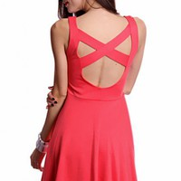 Rose Sleeveless Scoop Neck Cutout Back Party Dress @ Amiclubwear sexy dresses,sexy dress,prom dress,summer dress,spring dress,prom gowns,teens dresses,sexy party wear,women's cocktail dresses,ball dresses,sun dresses,trendy dresses,sweater dresses,teen cl