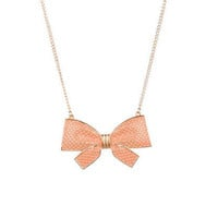 Large Basketweave Bow Necklace