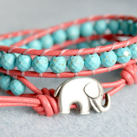 Blue Turquoise on Coral leather boho beaded leather wrap bracelet, Good Luck elephant, double 2x Wrap bracelet, Chan Luu Style