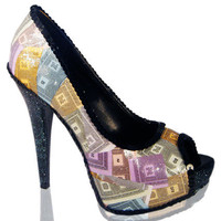 Monopoly Money Glitter Platform Peeptoe Pumps High Heels Shoes by frenchonion