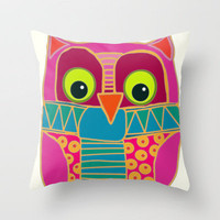 kookie owl Throw Pillow by Sharon Turner | Society6