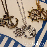 FUNKY ANCHOR WHEEL NECKLACE VINTAGE NAUTICAL SAILOR JERRY PIRATE FESTIVAL EMO
