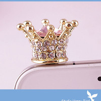 Bling Crystal Phone Case Beauty Accessary - 1PC Clear Crystal Crown Earphone Cap Anti Dust Plug for iPhone 5 &amp; 4