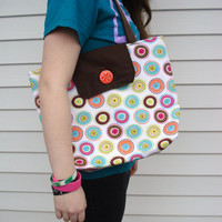 Tote Bag, Brown, Multi- Color Circles Tote Bag, Shoulder Bag, Button Front Flap,