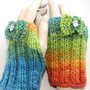 Hand Knit Multicolors Gloves , Fingerless Glove , Handmade , Winter Accessories Ready to Shipping