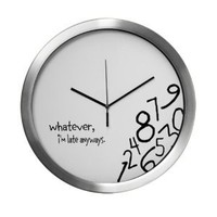 Amazon.com: Whatever, I&#x27;m late anyways Wall Clock Modern Wall Clock by CafePress - Silver: Home &amp; Kitchen