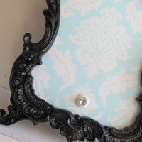 Magnetic Board Picture Frame Aqua White Damask by ShugabeeLane