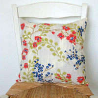 Floral Print Pillow Cover 16 x 16 by TerraCasa on Etsy
