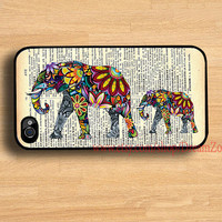 Elephant art &Old newspaper iPhone 4 Case iPhone 4s by DreamZone