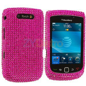 Hot Pink Bling Rhinestone Case Cover for Blackberry Torch 9800 9810