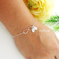 Infinity Bracelet TWO Initials Bracelet Personalized by hotmixcold