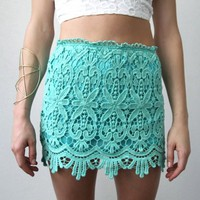 GREEN FLORAL SCALLOPED HEM CROCHETED LACE HIGH WAISTED MINI TUBE SKIRT 8 10 12