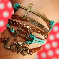 Faith Bracelet, Anchor Bracelet, Love Bracelet, Cross Bracelet, Colorful Flocking Leather Bracelet, Brown Braided Leather Bracelet