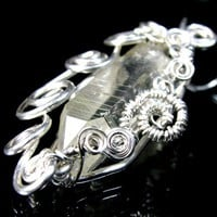 Natural Citrine Crystal Pendant, Sterling Fine Silver Scroll Wire Wrap