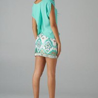 Mint Short Sleeve Top with Bead Shoulder Detail & Cross Back