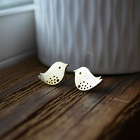16k Yellow Gold Plated Bird Stud Earrings - Simple Minimal Everyday Jewelry