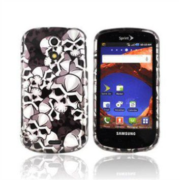 Samsung Epic 4G Hard Case - Silver Skulls on Black