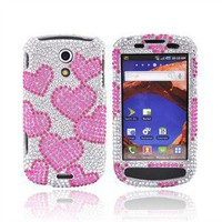 Samsung Epic 4G Bling Hard Case - Pink Hearts on Silver/White