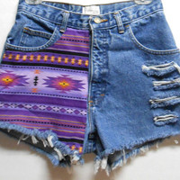 Vintage  High Waist   Denim Shorts Southwestern Print  Waist 27   inches