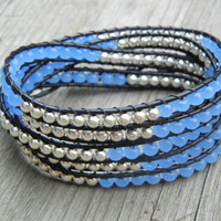 Beaded Leather 5 Wrap Bracelet with Silver and Soft Blue Beads on Black Leather