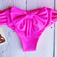 Brazilian  Bow  Bikini Bottoms in Bright Fuchsia