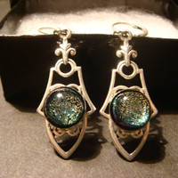 Antique Silver  Victorian Style  Dichroic Glass  Leverback Dangle Earrings (888)