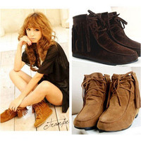 Hot ! Classic Soft Tassels Lace UP Flats Heels Inside Shoes Ankle Boots 004