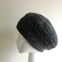 Womens Black Hat - Women's Hat - Black Hat - Autumn Accessories - Crochet Beanie Slouchy Hat in Charcoal Chunky Yarn