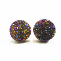 Rainbow Flame Druzy Stud Earrings n40 by AstralEYE on Etsy