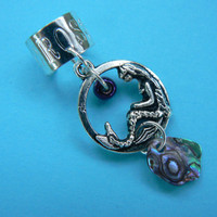 mermaid abalone pendant ear cuff  mermaid abalone in boho gypsy hippie hipster  beach  resort and fantasy style