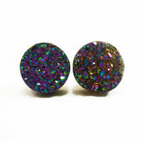 Rainbow Flame Druzy Stud Earrings n43 by AstralEYE on Etsy