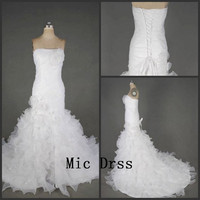 Strapless sleeveless floor-length white organza draped pleated mermaid Prom /Evening/Party/Homecoming/cocktail /Bridesmaid/Formal Dress