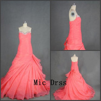 Sweetheart sleeveless pink organza pleated crystal beading long Prom /Evening/Party/Homecoming/cocktail /Bridesmaid/Formal Dress