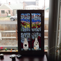 Mosaic Window Vases and Flowers