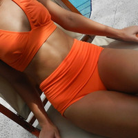 diva Kini   The bottoms up bikini bathing suit  vintage look   in tangerine orange