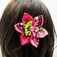 Handmade Fabric Flower, Colorful Hair Flower, Hair Clip, Flower Headband, Rainbow Flower